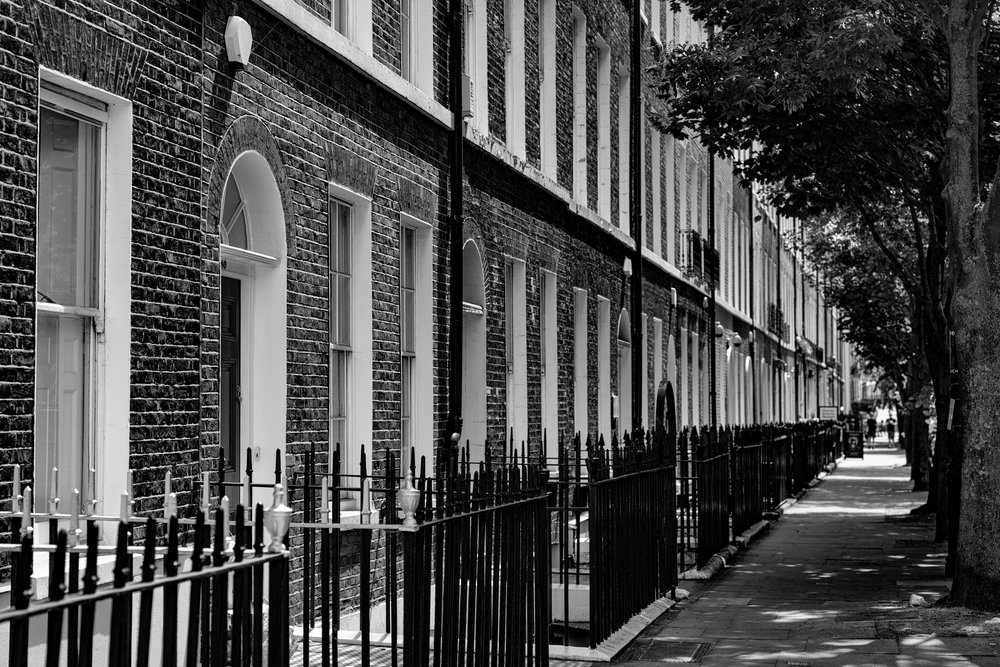 The Georgian terraces of Doughty Street have been home to many famous people, although perhaps the most famous of them all is Charles Dickens, whose former home is in the distance, with the billboard outside. The street was also home to the thoroughbred birds of  The Racing Pigeon  magazine, among its lesser-known residents