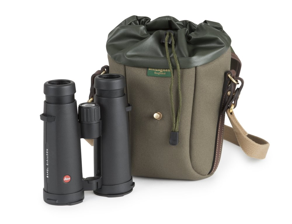 Billingham Galbin 10 in Sage FibreNyte with chocolate leather and the Leica 10x42 binoculars
