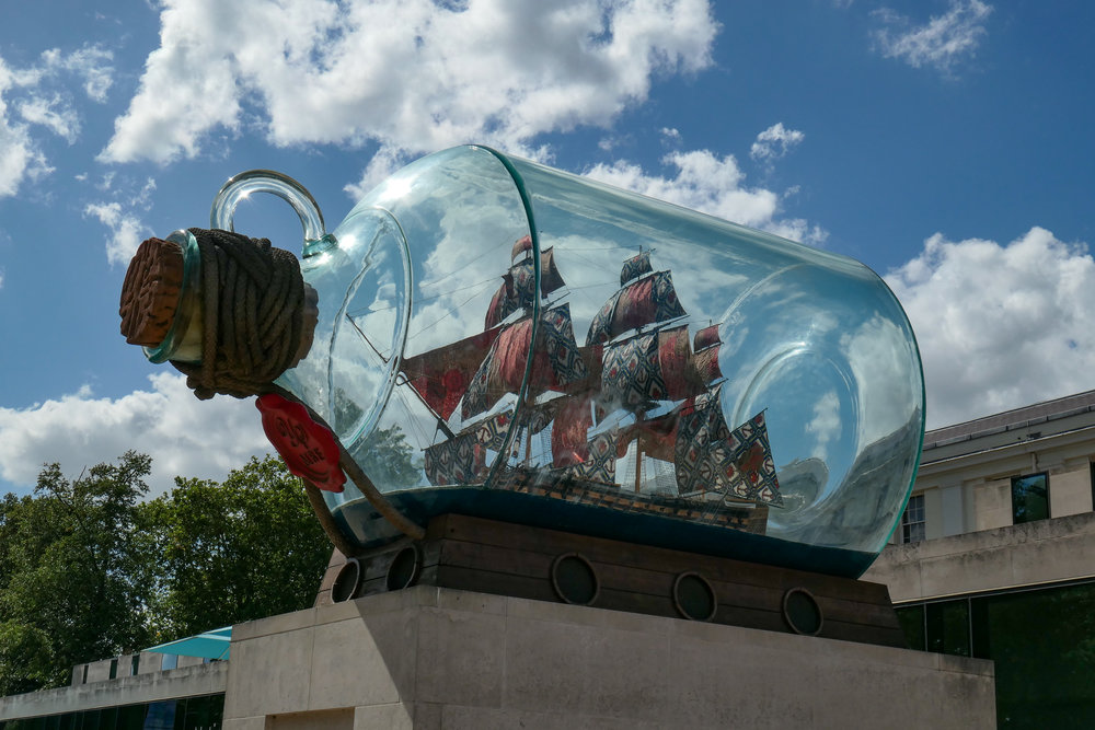 The world's in your pocket with the quart-in-a-pint-pot Leica C-Lux. This is a replica of Nelson's HMS Victory   — with colourful sails in African prints — and fits into the 4.7m-long bottle. It was originally exhibited on the fourth plinth in Trafalgar Square but is now part of the permanent exhibition at the National Maritime Museum at Greenwich