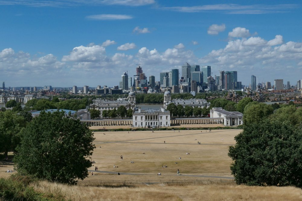 Above: Greenwich Naval College as seen from the heights of Observatory, with the Canary Wharf business district in the background on the far side of the River Thames. The hot summer has turned the usually verdant park into a very unusual colour for London. Taken at f/8, 1/1250s at 45mm. The image below is a crop from the full frame