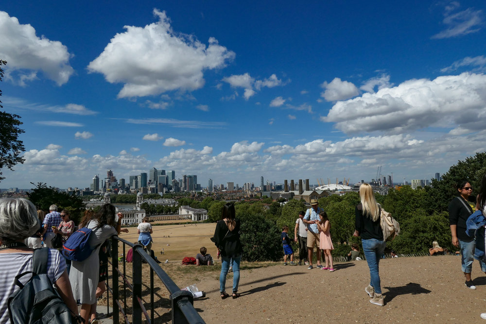 On a hot summer's day, it's quite a slog up the hill from Greenwich to the Observatory but the view is worth it. The Canary Wharf business district is probably perched right on the meridian, ideally placed for dealing with the time zones of the world. Taken at 24mm. But after descending to the delights of Greenwich town, what better to refresh the spirit than a plate of pie, mash and eel, with eel liquor. This is London's traditional haute cuisine. This was taken at ISO 500 at 50mm