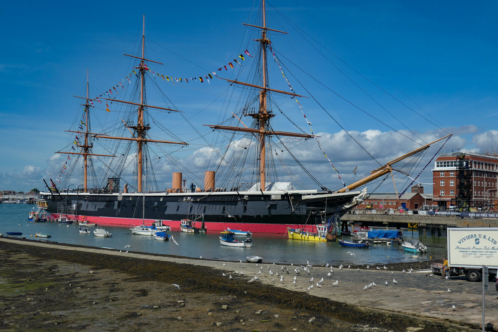 """HMS Warrior , commissioned in 1861 was the largest warship in the world. She is the only survivor of the """"black battle fleet"""", the 45 ironclads built for the Royal Navy between 1861 and 1877. Warrior is now a major attraction at the Portsmouth Naval Dockyard (f/4, 1/2500s, 45mm)"""