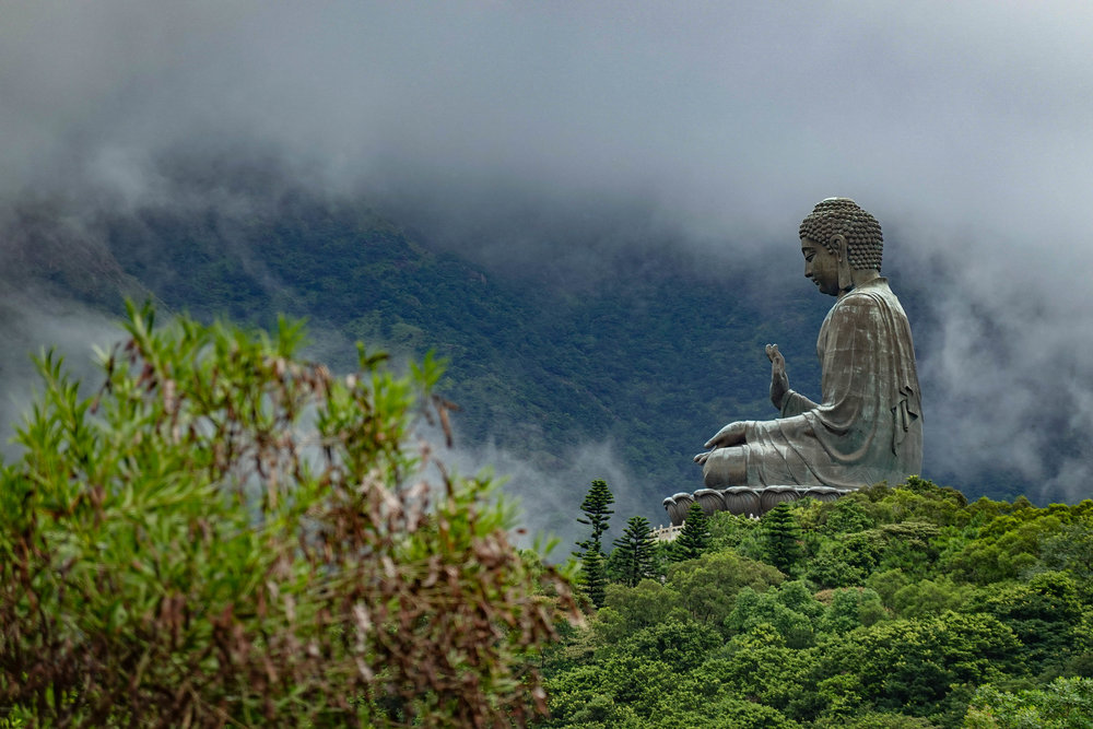 The Big Buddha on Lantau island. Definitely not the place to get stranded at the top of the cable-car system when a major thunderstorm blows in
