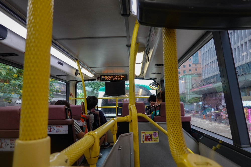 The top deck in Hong Kong seen from my favourite seat, just like London.....