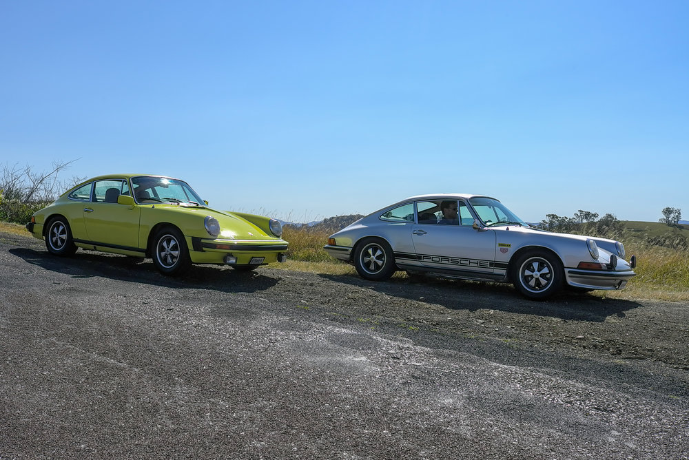 The 2.7 with a friend's early silver car
