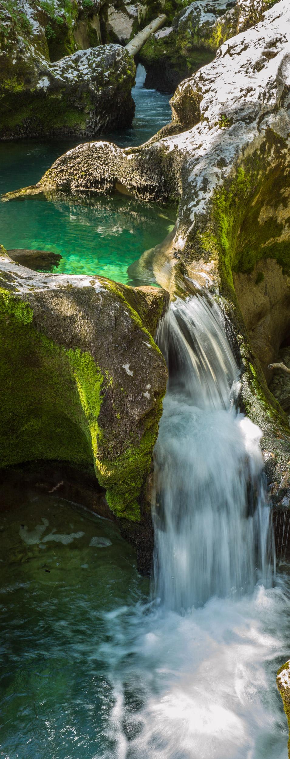 Waterfall in the Voje valley Triglavski National Park, Slovenia.