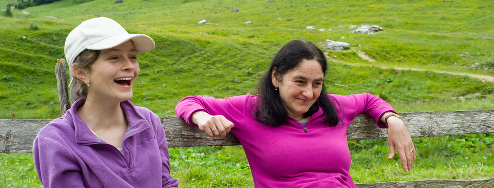My wife and daughter taking a break,Konjščica mountain cafe in Triglav National Park, Slovenia.