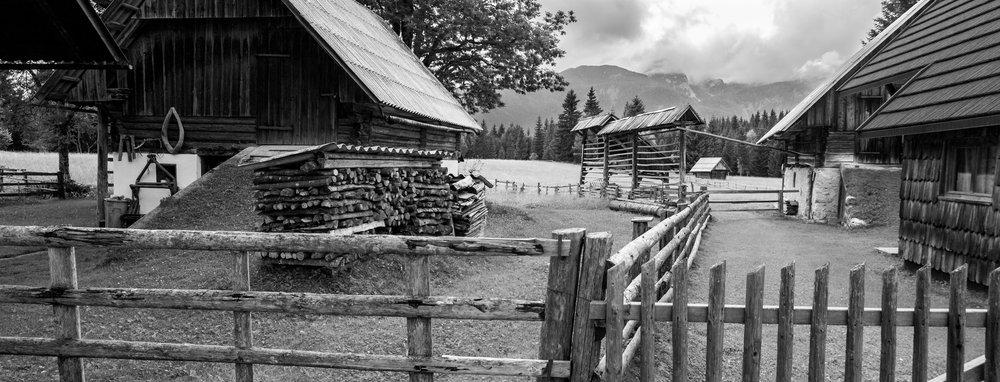 The mountain village of Rjavec, Triglav National Park, Slovenia.