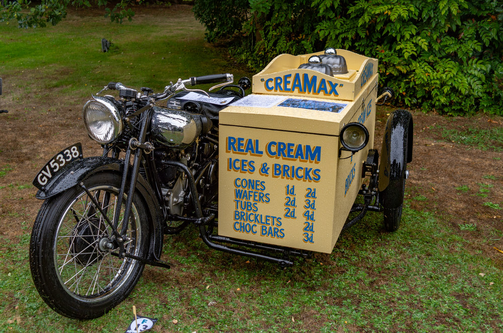 Stop me and buy one: George Brough might not have envisaged his powerful vee-twin hitched to an ice-cream sidecar, but there's no discounting the value here. Sadly the sidecar was not stuffed with 1930s cones, bricks and choc bars. Just imagine what you could get for tuppence or, even, a penny in those days. A penny cone now costs 500 times as much and is probably half the size. (More information: The ice cream sidecar was one of a fleet of such operated by the Creamax company in the 1930s. Creamax was owned by the mayor of Bury St Edmunds who purchased a succession of BS SS80s for this purpose. Very strange)