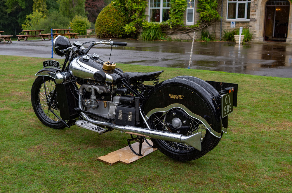 This, I thought, is one of the more unusual Brough Dream four-cylinder models but I was wrong. Don Morley has pointed out in a comment that this is an Austin 7-powered Brough with reverse gear, and a rather nice example at that. George Brough had a dream that motorcycles should be as smooth and quiet as a prestige car but he could never shake off his love for the lusty, throaty big twins as exemplified by the SS100.