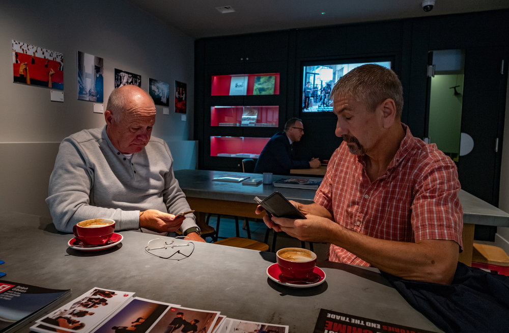 You can get up to all sorts of interesting things in the Leica's Café Optik, including checking your iPhone. My friends, unfortunately, are not Leicaphiles so I could just as usefully taken have them to Starbucks. Not back coffee, though (  (Leica M10 and 21mm Super-Elmar f/3.4)