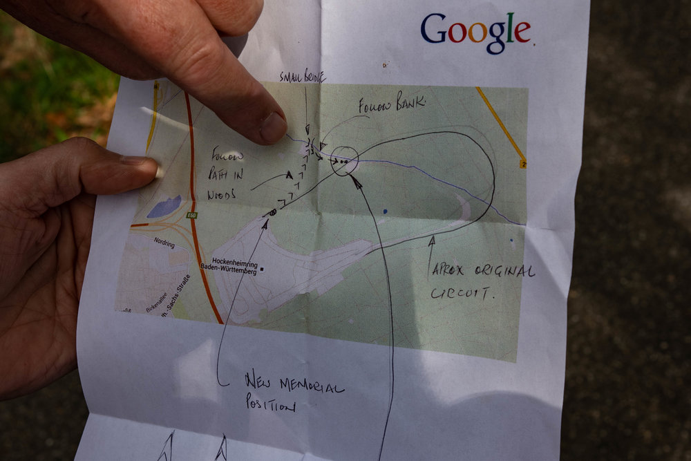 """Above: Thanks to Google and a few handwritten annotations, we were able to get some idea of which way to walk from the new memorial. Below top left: The path stretched into the distance with no signposts and no hint of the """"small bridge"""". Top right: After about a mile the bridge appeared in the distance. Bottom left: The intrepid explorers set out along the high river bank. Bottom right: Just when we were about to give up and turn back, the two small conifers looked likely candidates — and, indeed, they were the ones marking the scene of Jim Clark's death."""