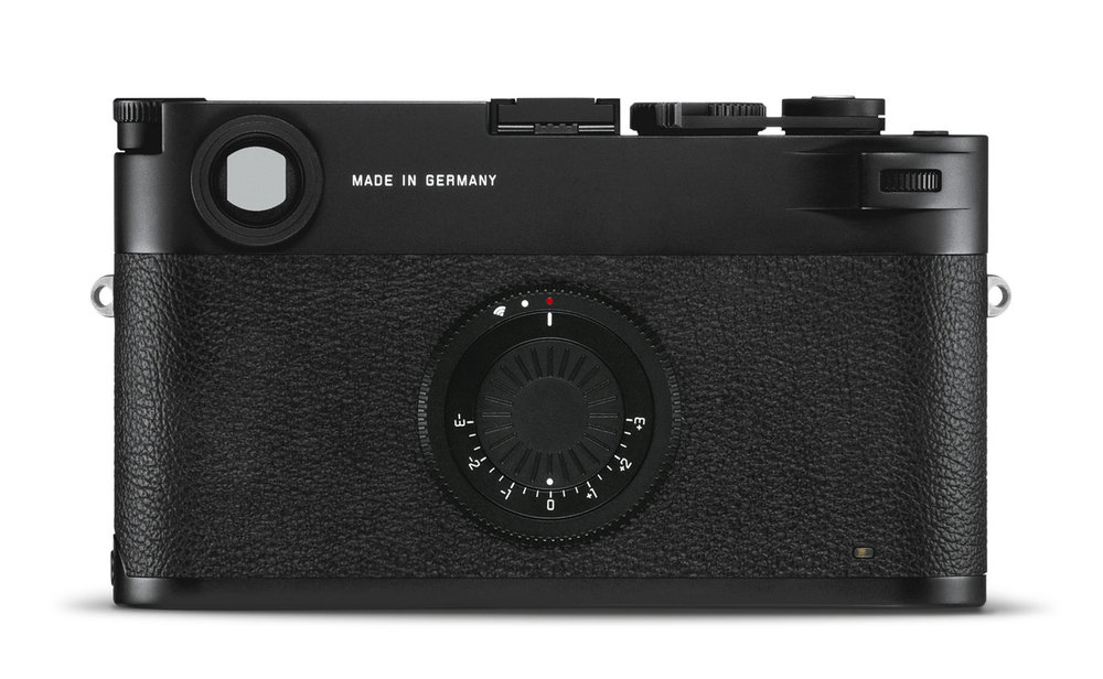 """Less is more: The film-camera back of the M10-D — including the dummy """"advance lever"""" os calculated to attract the faithful. The clearly marked on-off switch, while in an unorthodox position, is easier to memorise than the red-dot symbol on the switch of other M10 models. The compensation dial, a first for a digital M, will be welcomed by users who prefer to see everything at a glance."""