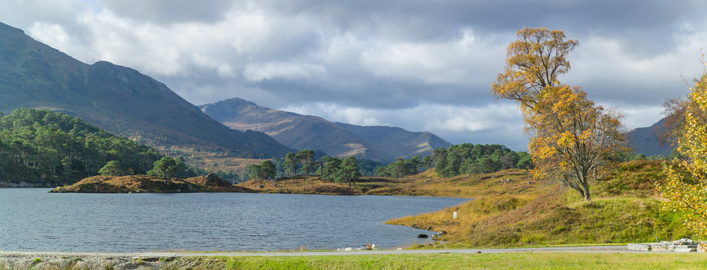 First view of Loch Affric surrounded by Munros