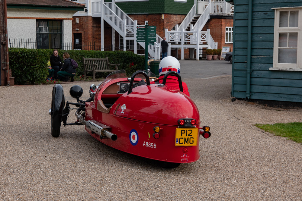 Auf wiedersehen, pet Moggie: This wonderfully preserved Morgan three wheeler sets off for home from the Brooklands classic car event last weekend