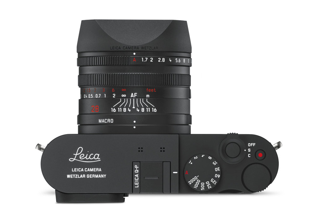 True -P image, with Leica top-plate engraving. Note the new shutter button with three-way on/single/continuous markings. They say this is the same as the M and CL but it isn't as minimalistic as the single red dot on those cameras. I think this version on the Q is an improvement and should find its way to other cameras in due course. It's nice to see the status clearly marked
