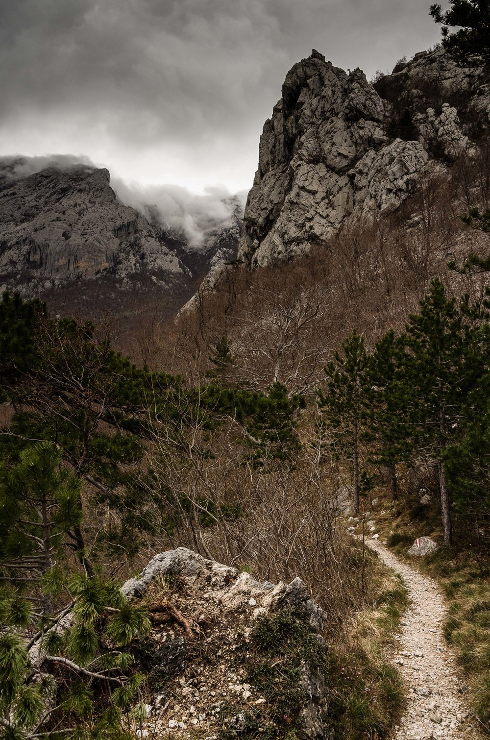 Storm clouds falling over the Velebit mountains.