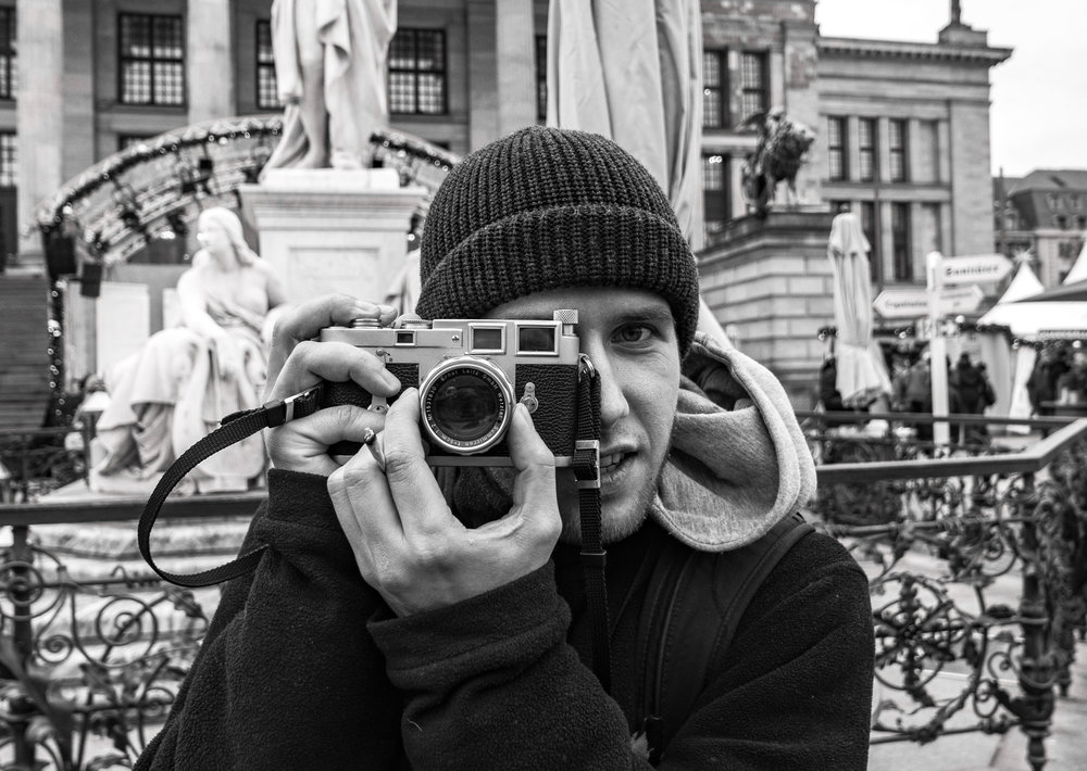 Classic rangefinder cameras are now achieving cult status. Film is definitely not dead, and is back with a vengeance. Thomas from Austria had just purchased his sixty-year-old M3 when we met at the Gendarmenmarkt Christmas Market in Berlin last week (image Mike Evans, Leica D-Lux 7)