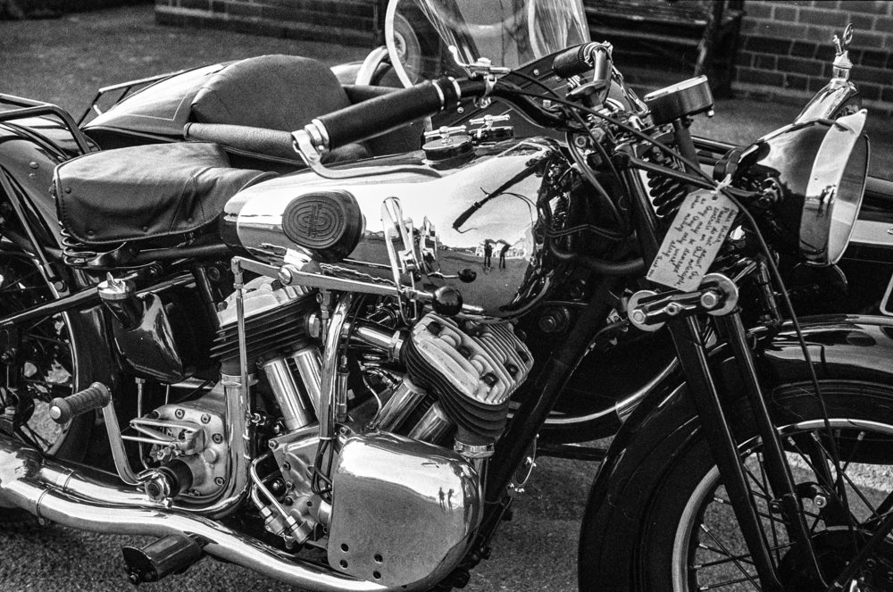 Rangefinder cameras keep on working, thanks to precision engineering and total lack of dependence on electronics (except, of course, in the case of modern digital rangefinders). This 1935 Brough Superior was shot on a contemporaneous Leica III — but taken in 2016 by Mike Evans