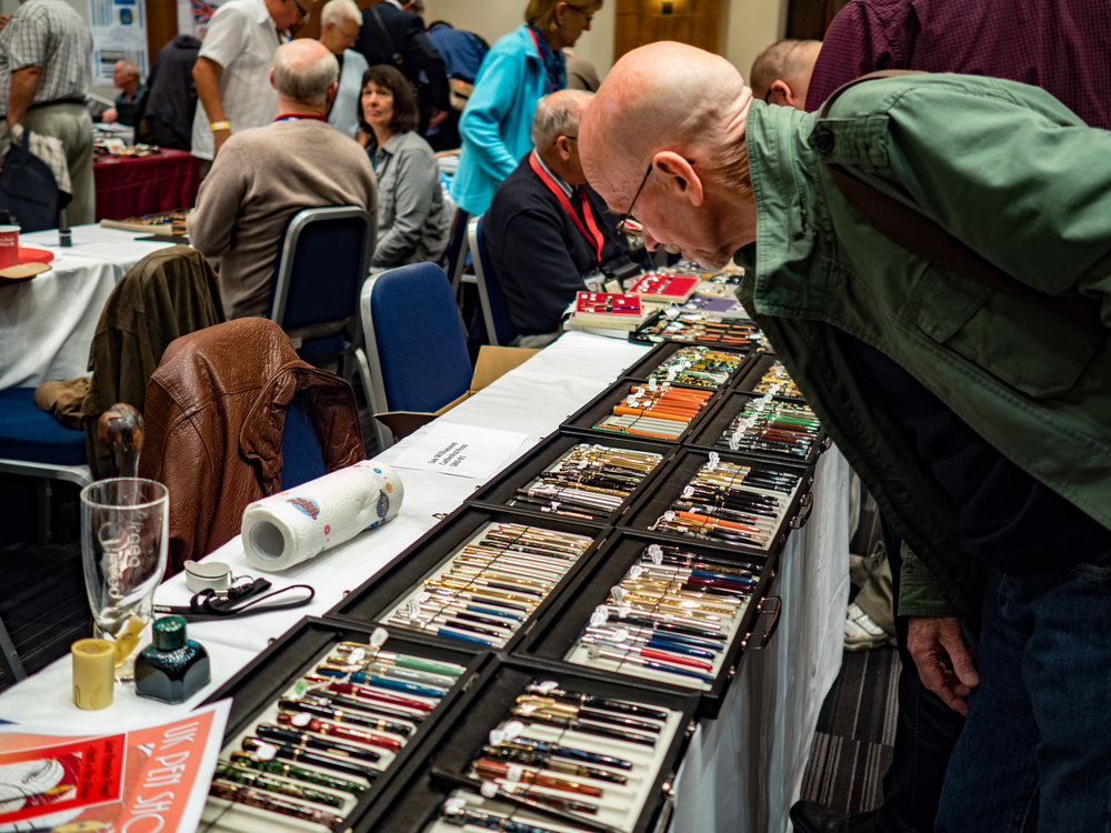 George inspects the wares at the very gentlemanly Writing Instruments Show in 2016