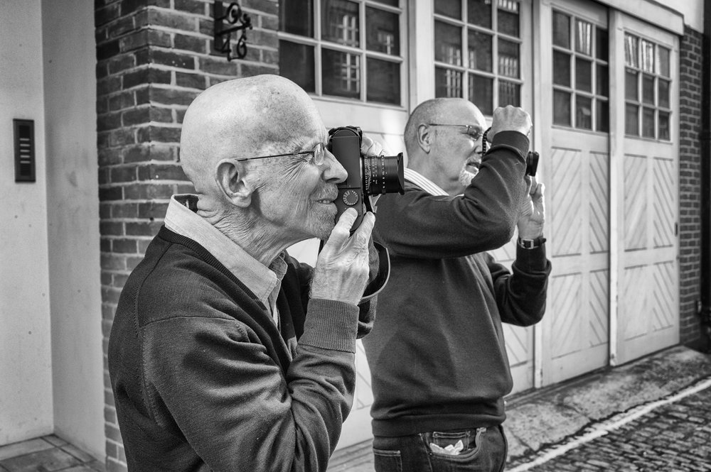 The two Monochromeers, George and editor Evans learning the ropes of the first Monochrom at Leica Mayfair in September 2013