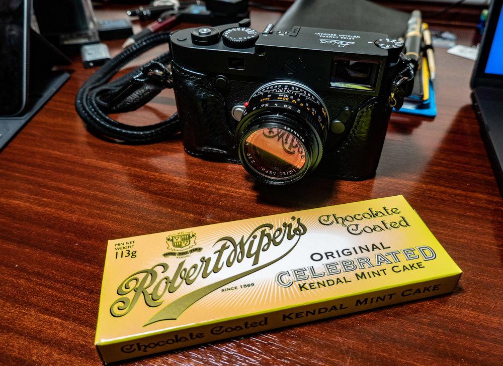Life is all about simple pleasures — such as piloting the Leica M10-D and munching on a block of Kendal Mint Cake…..