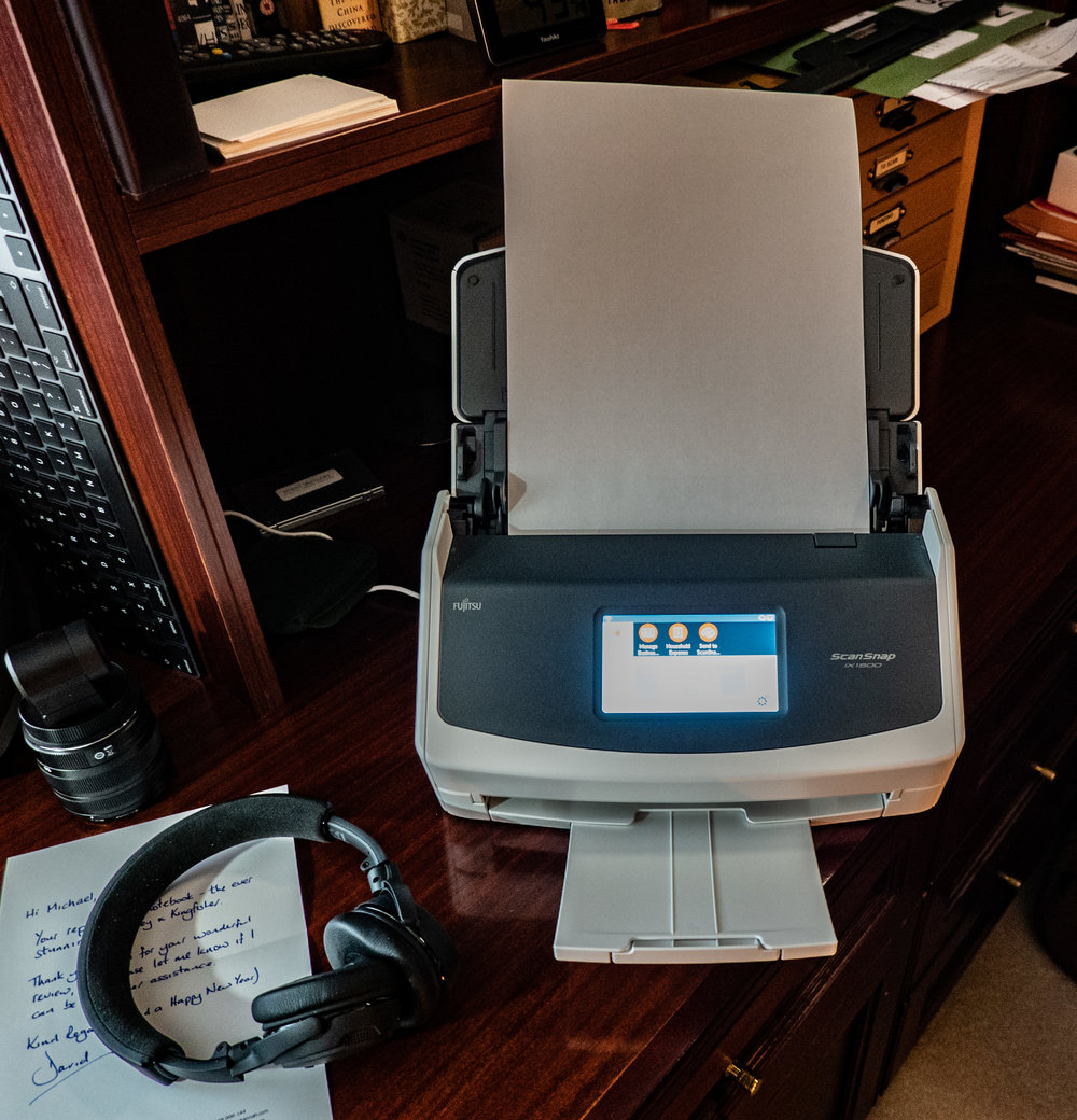 I keep the IX1500 by the side of my desk. It works its magic on all incoming paperwork which then goes immediately to the shredder. Result: An ALMOST paperless office……