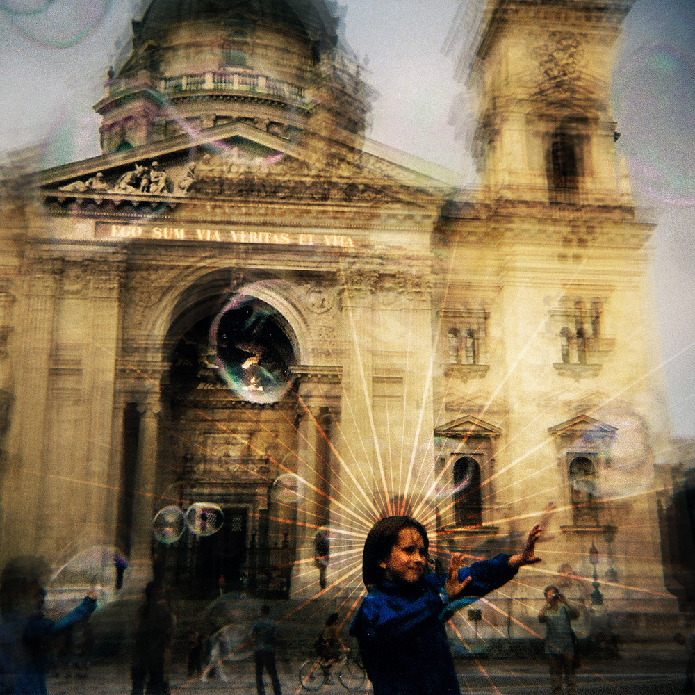 Soap bubble symphony at St. Stephen's Basilica; Budapest, Hungary