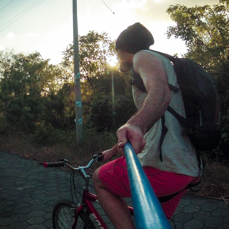 Priority #1 when riding a rickety bike along a busy road with no shoulder is certainly not fiddling with one's GoPro