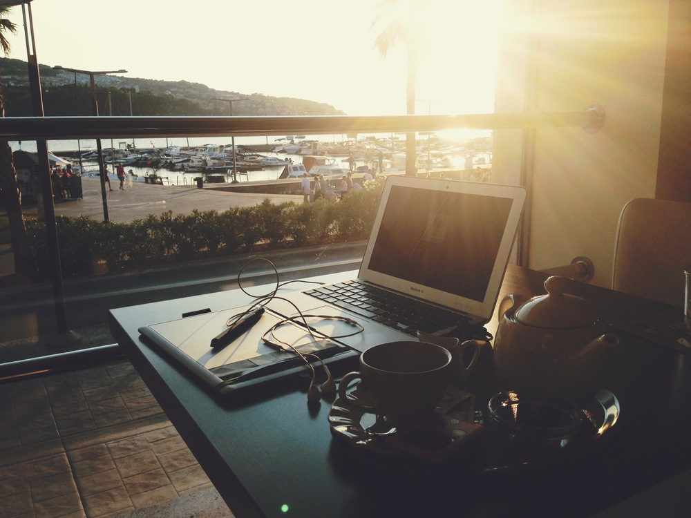 Temporary office in a tea house on the Slovenian coast