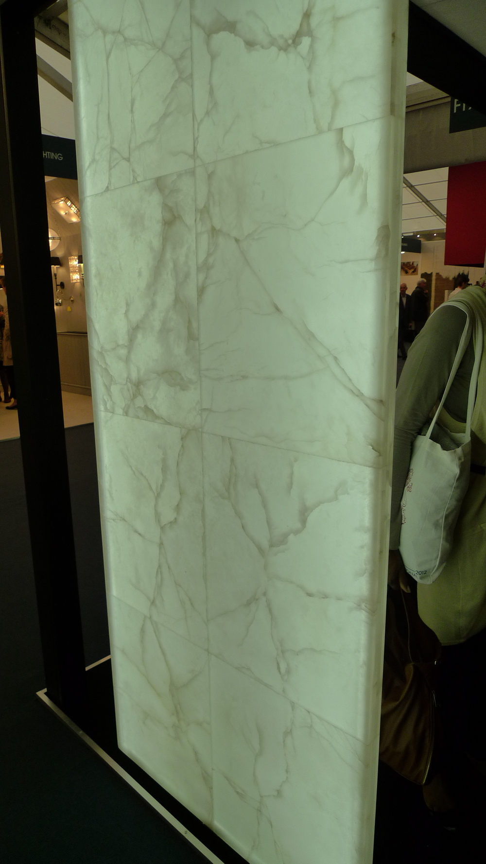 Internally edge lit stone panel by Lamellux