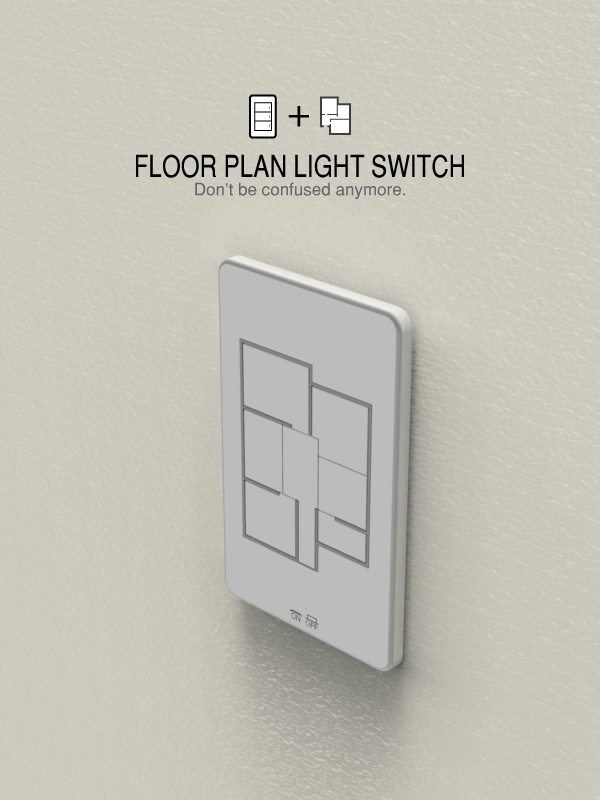 The floor plan light switch gives you a graphic way of knowing what lights you're turning on and off.