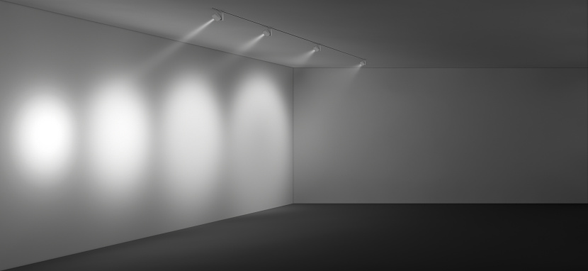 This rendering depicts the variety of beam spreads available from ERCO LED track heads.
