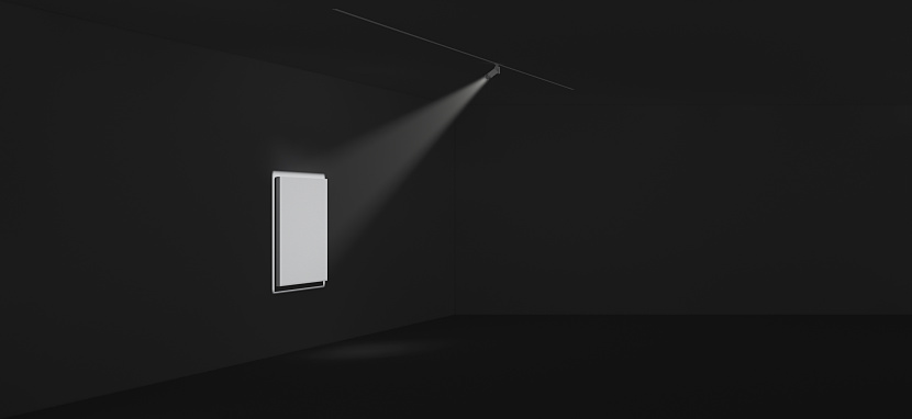 This rendering depicts what an LED framing projector is capable of, a framing projector allows a perfect cut off of light allowing an accent of a specific piece of art or perhaps signage.