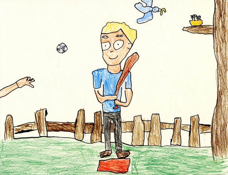 Tyler, age 5 — This drawing illustrates an event, which Tyler can expand on with his voice or with written words.