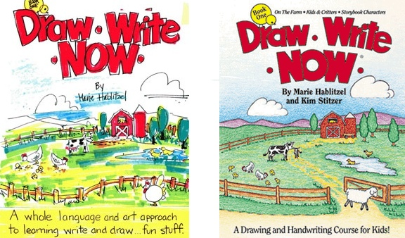 Draw Write Now, Book 1 front cover sketch and finished cover.