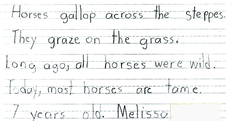 Melissa, age 7, from Draw Write Now, Book 8, Horse Lesson, page 32