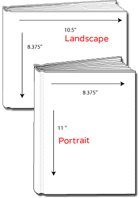 PORTRAIT books have the binding on the long side.  LANDSCAPE books have the binding on the short side. Hardcover Blank Books.