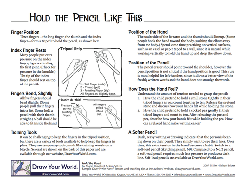 "Get packs of 12 ""Hold the Pencil Like This"" - CLICK IMAGE"