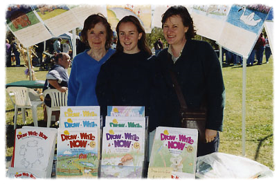 Marie and Kim are the authors of the eight-book Draw Write Now series. Left to right: Marie, her grand-daughter Marianne, and Kim.