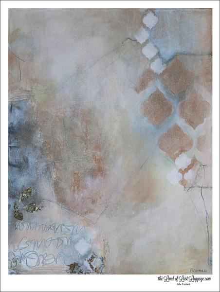 """11x14 mixed media original art; a class sample from my new class, """"Mucho Metallics"""", now OPEN."""
