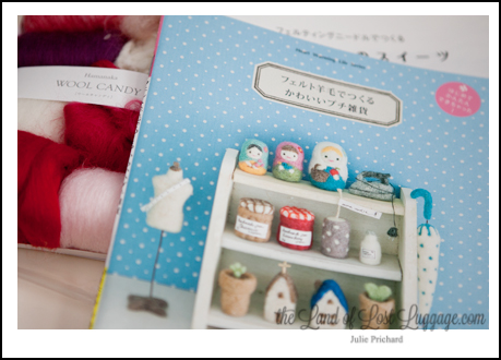 Two Japanese Needle Felting books added to the collection. I can't read a word...but luckily they have great photos to follow. Cheers, Rio Fukuda- I love the book you wrote on desserts!