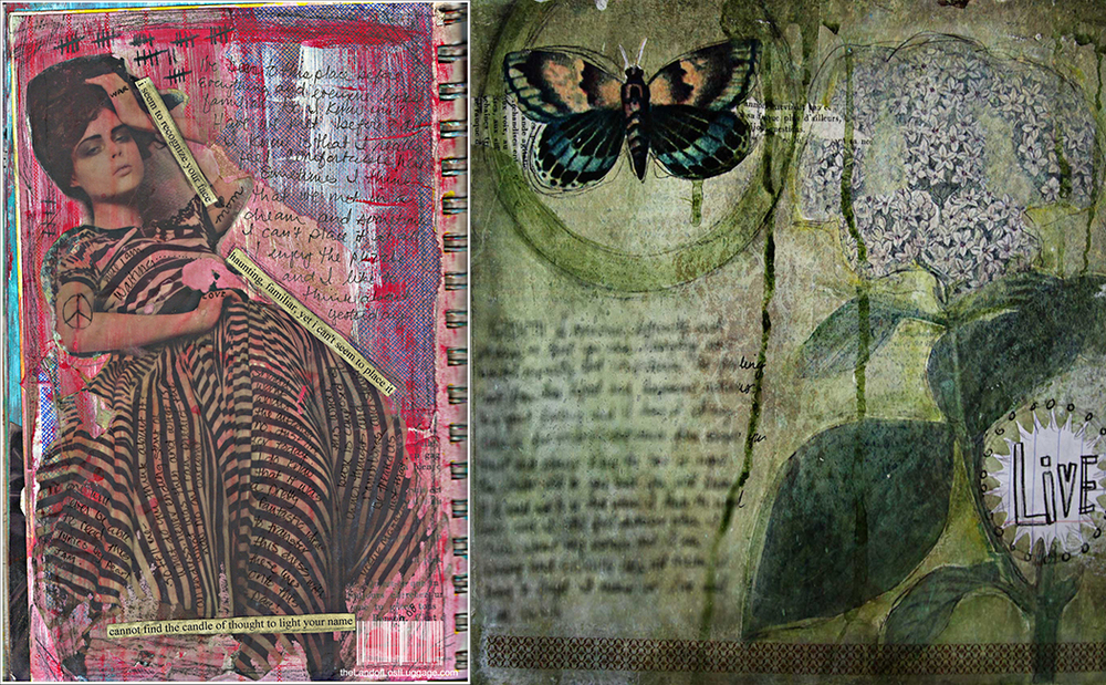 Somewhat early art journal pages created by me.