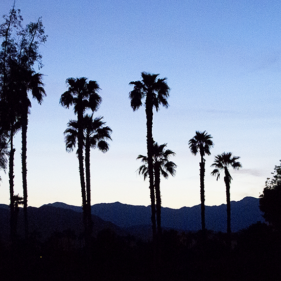 San Jacinto mountains at sunset.