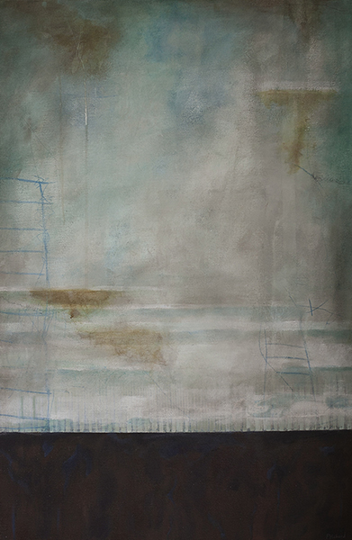 """""""Ocean Front"""" Mixed Media on canvas; 24x36 2013"""