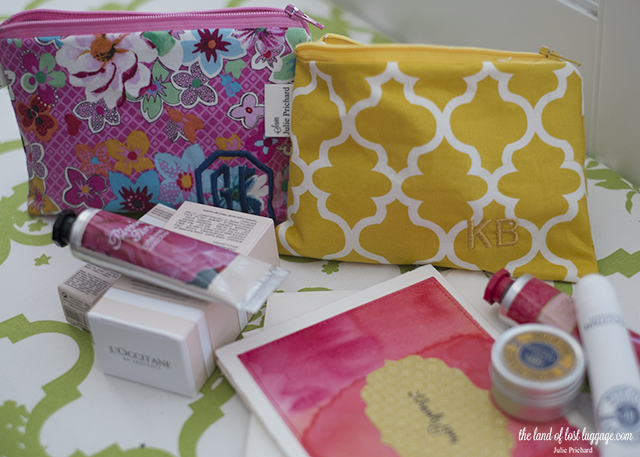 Hand made cosmetic pouches with L'Occitane gifts for the teachers this year..
