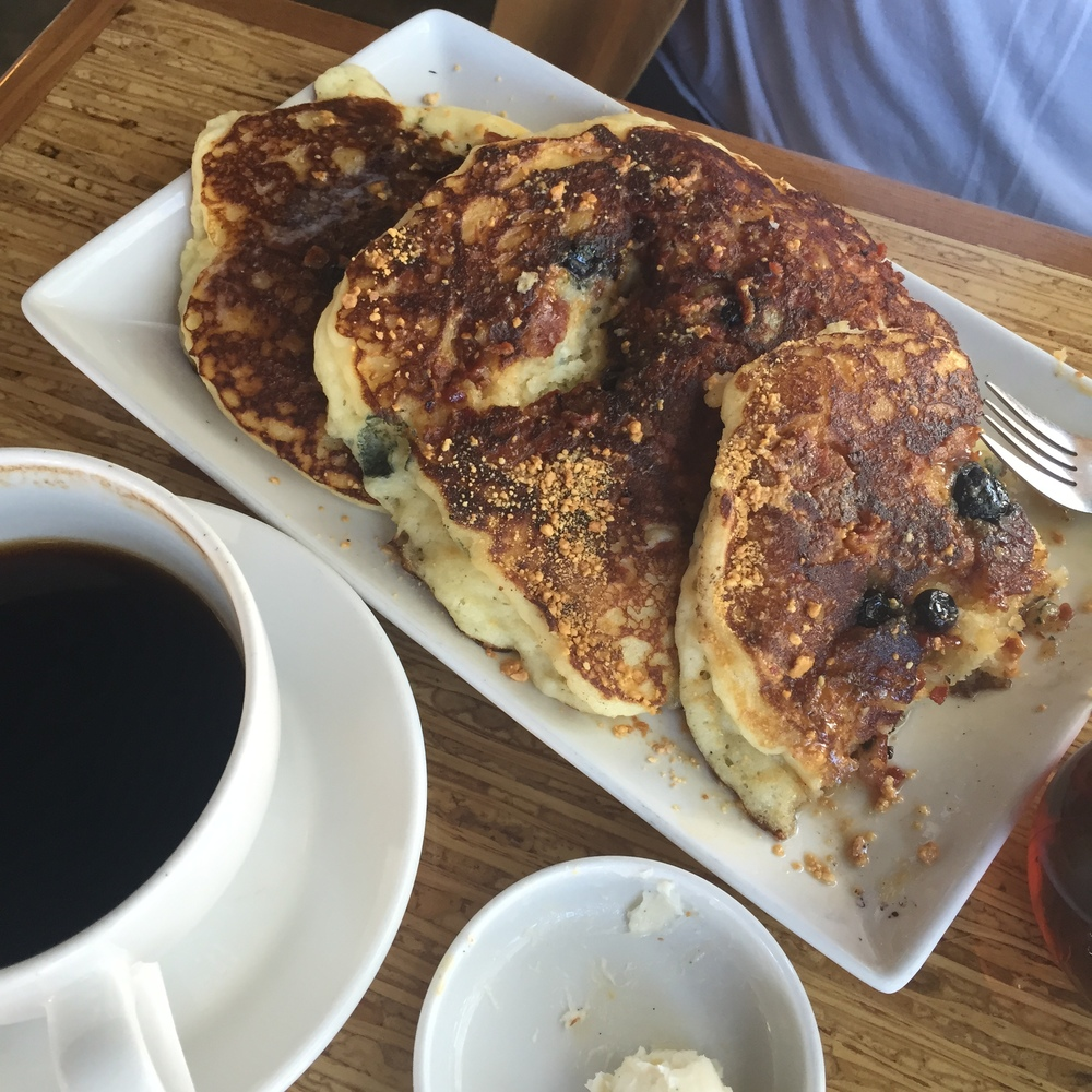 Those are gluten free, blueberry bacon pancakes...and they are amazing!