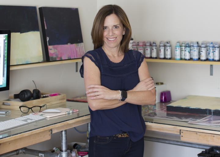 Julie Prichard in her home studio, 2018.