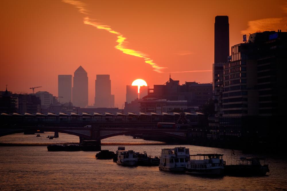 Sunrise over the city, London