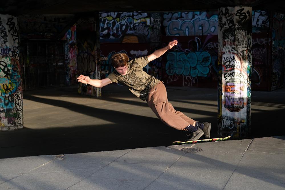 Skateborder on Londons South Bank